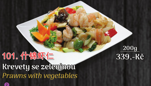 101. Krevety se zeleninou - 339 Kč