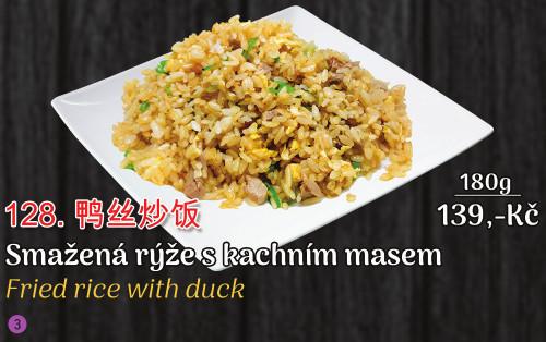 128. Smažená rýže s kachnim masem - 139 Kč