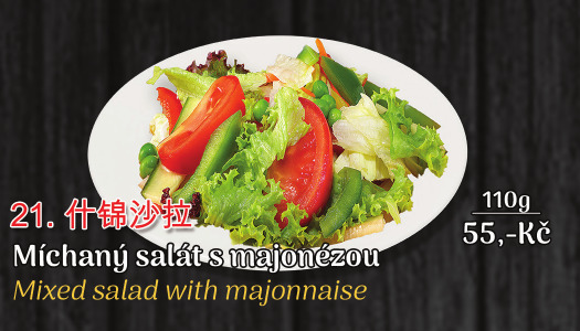21. Míchaný salát s majonézou - 55 Kč
