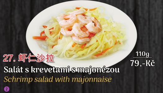 27. Salát s krevetami a majonézou - 79 Kč