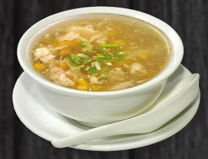 3. kuřecí polévka s kukuřicí - 48 Kč